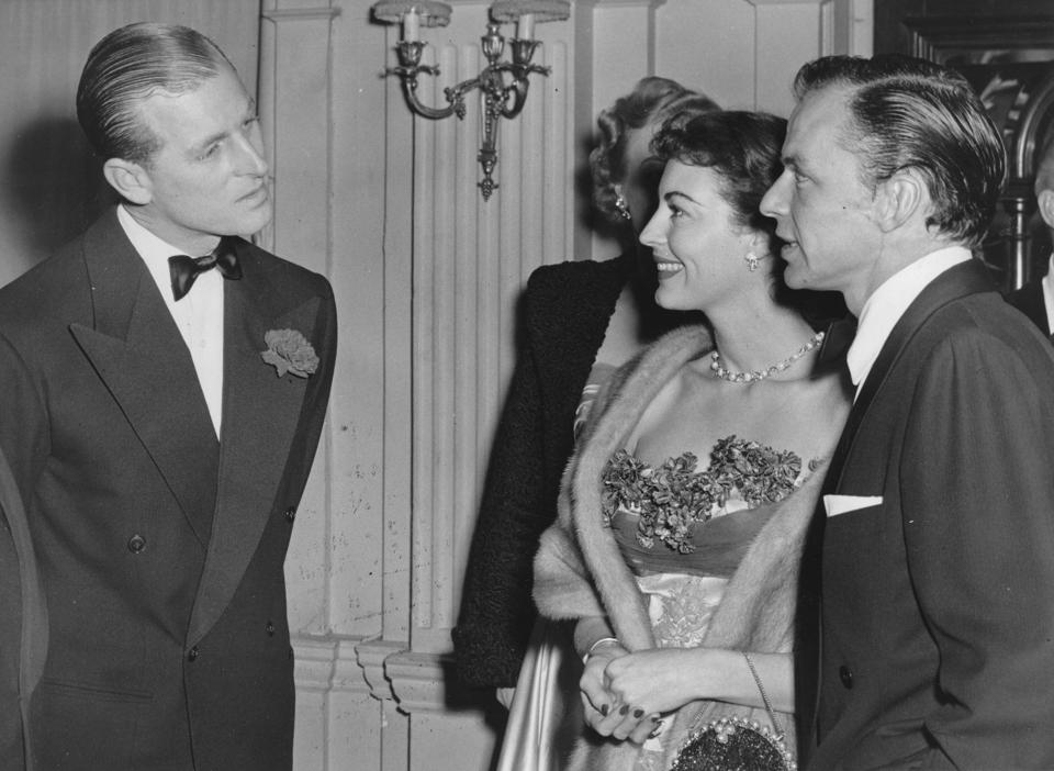 Prince Philip chatting With Frank Sinatra and Ava Gardner 1951.