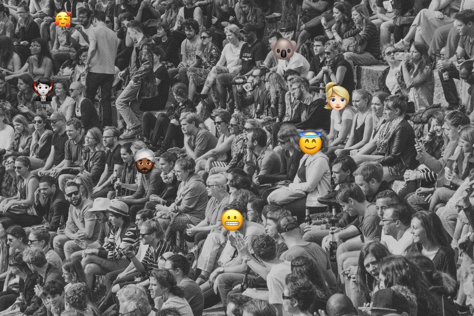 crowd of emoji with emoji as faces