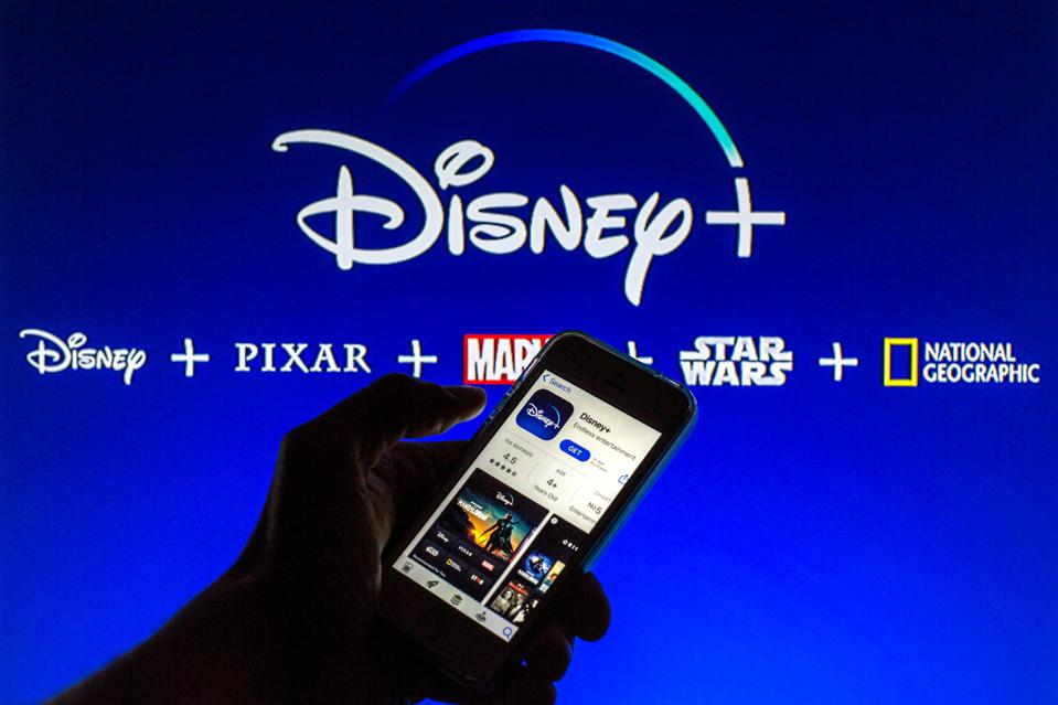 In this photo illustration the Disney+ App seen displayed on...