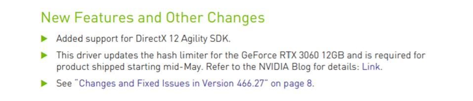 A new Nvidia driver will reduce mining performance on Nvidia GPUs