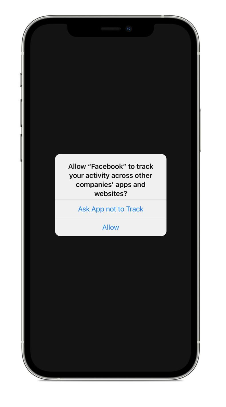 iOS 14.5 Allow to Track prompt for Facebook
