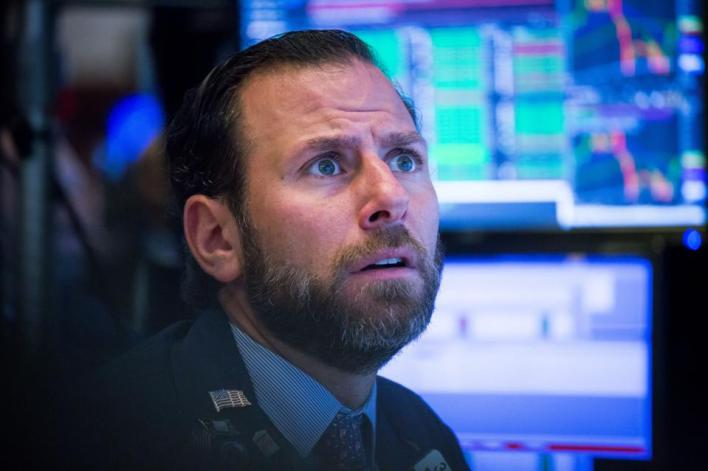 Trading On The Floor Of The NYSE As Tech Falls After Apple; Bonds Drop on Jobs Report