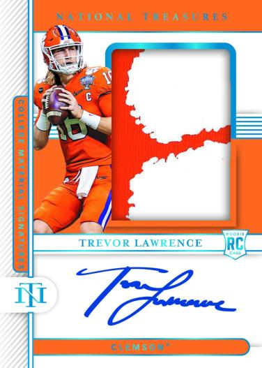 Trevor Lawrence's Clemson trading card from Panini