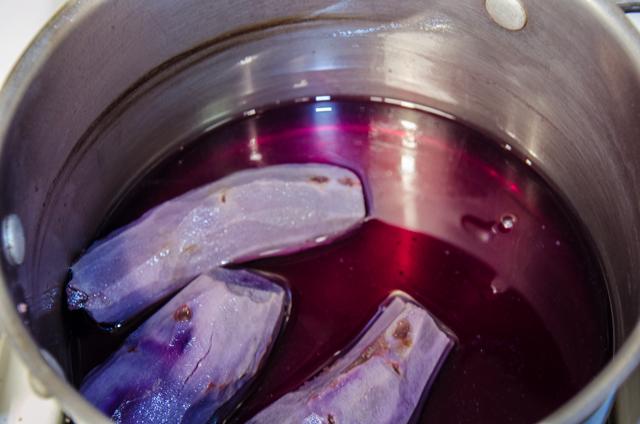Boiling Purple Sweet potatoes