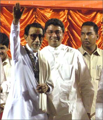 Bal Thackeray, leader of the Shiv Sena, with son Raj, leader of the MNS