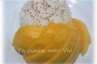 ingrédient pour recette du riz gluant au lait de coco et mangue