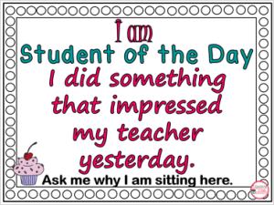 Student of the Day Sign
