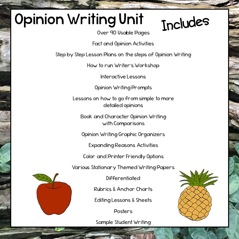 Opinion Writing 1st and 2nd Grade