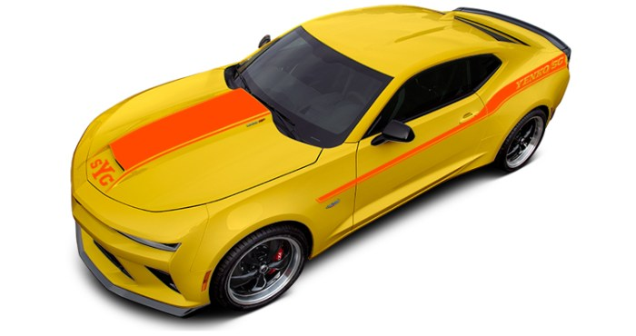 2018 Yenko Camaro Bright Yellow with Hugger Orange Stripes