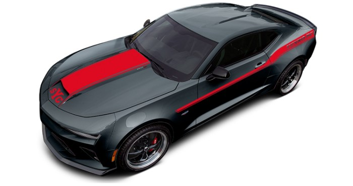 2018 Yenko Camaro Nightfall Gray Metallic with Red Stripes