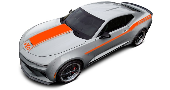 2018 Yenko Camaro Silver Ice Metallic with Hugger Orange Stripes