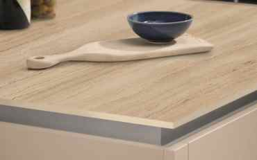 Evolve Urban concrete 12.5mm ultra slim breakfast bar and slab end in Roche texture