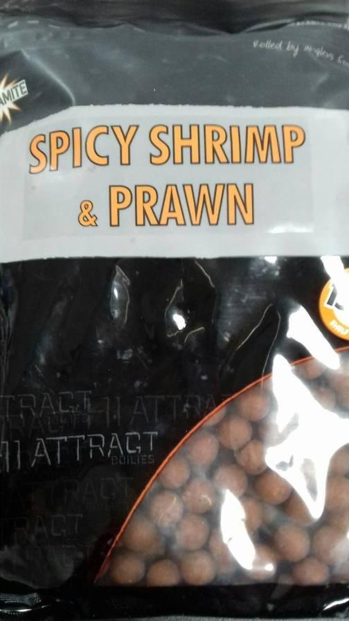 Dynamite Baits Hi Attract Spicy Shrimp & Prawn Shelf life Boilies 15mm 1kg