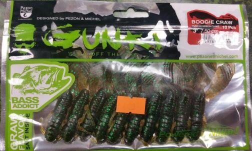 Gunki Boogie Craws 3'' Pumpkin Green Flake 10 pack