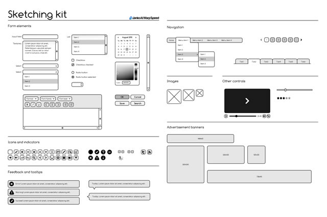 Sketching & Wireframing Kit (.ai, .eps, .pdf & .svg)