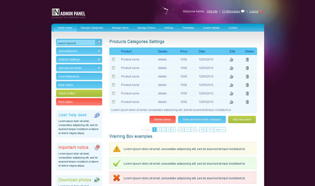 INADMIN - HTML,CSS & jQuery Admin Panel