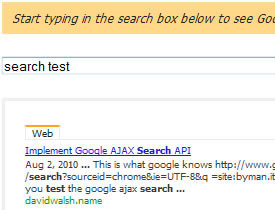 Implement Google AJAX Search API