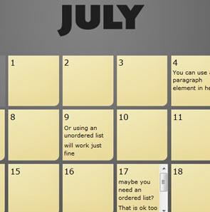 CSS Elastic Calendar