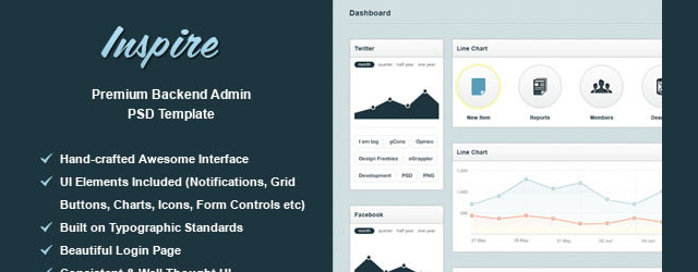Inspire Free Backend Admin Template (PSD)