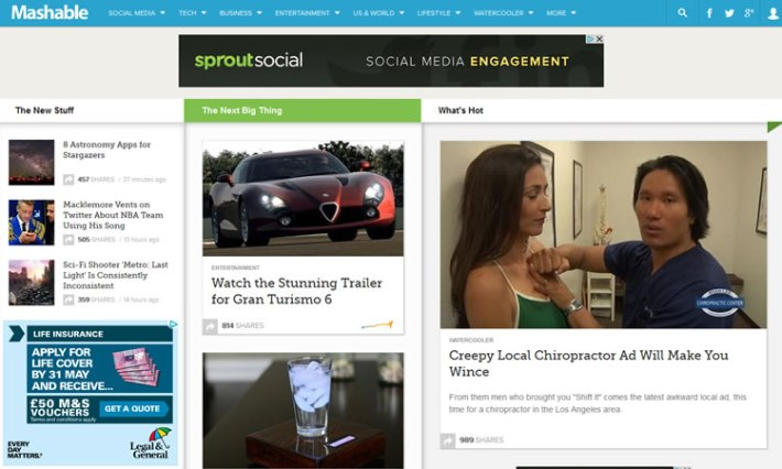 Mashable content heavy web design Inspiration