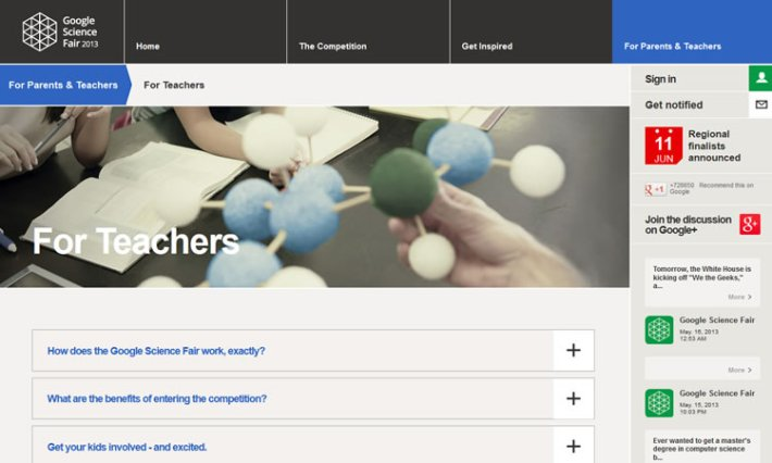 content heavy websites Google Science Fair Inspiration