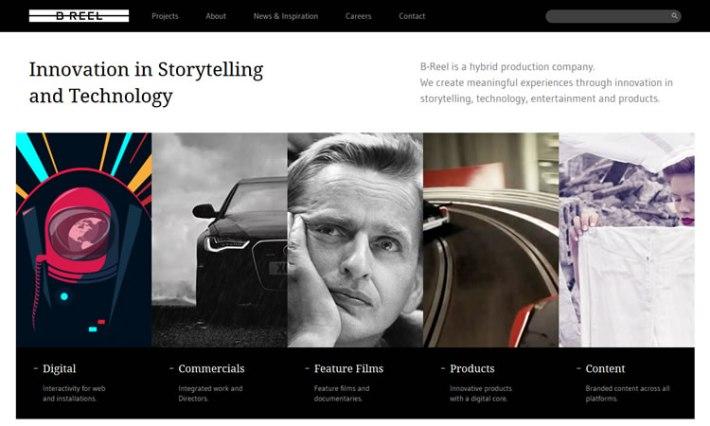 B-Reel content heavy web design Inspiration
