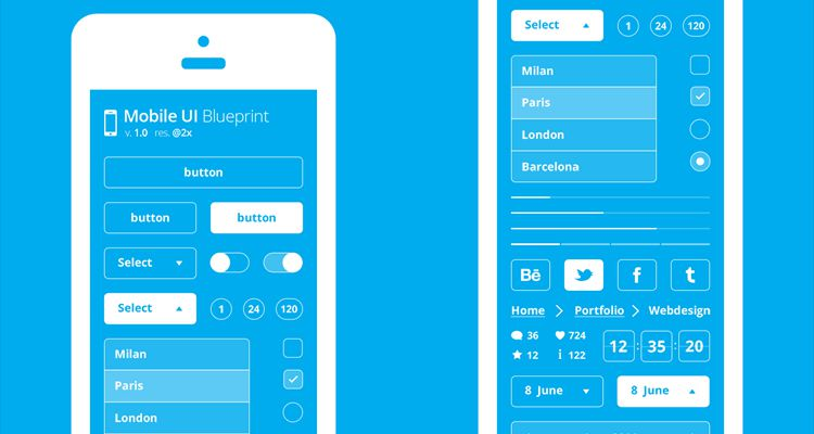 Blueprint psd photoshop multi-purpose general mobile app free wireframe kit template UI design