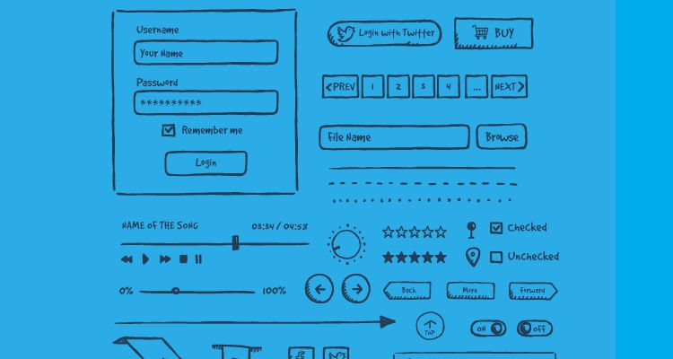 Jolly UI Hand-Drawn ai eps illustrator web design development free wireframe kit template UI design