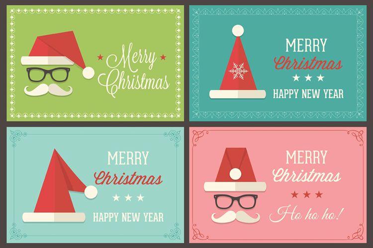 Retro Santa Cap Vector Greeting Card Templates vacaciones gratis