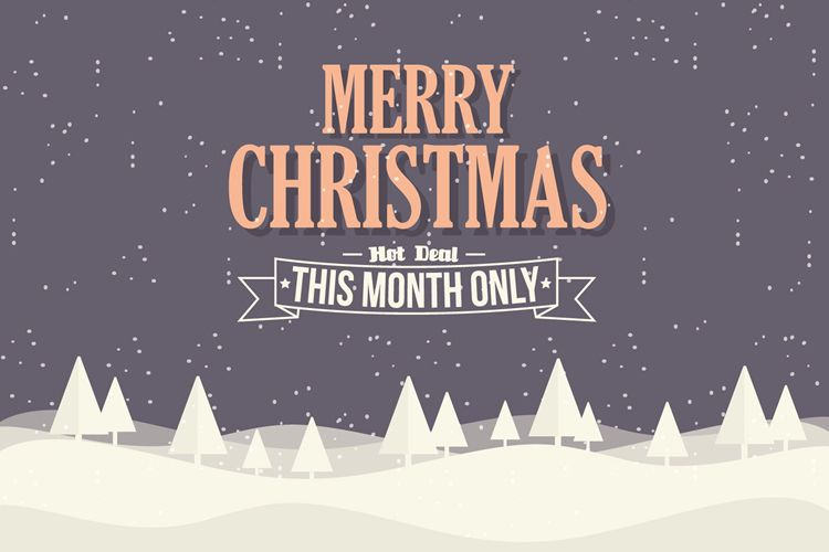 Christmas eCommerce Background Illustration with Typography free holidays