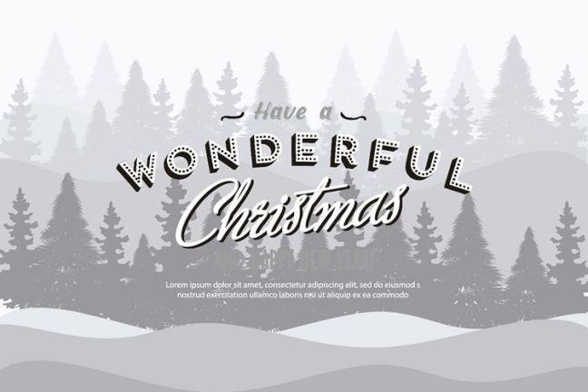 Ilustración de fondo de Navidad con vacaciones de texto retro gratis