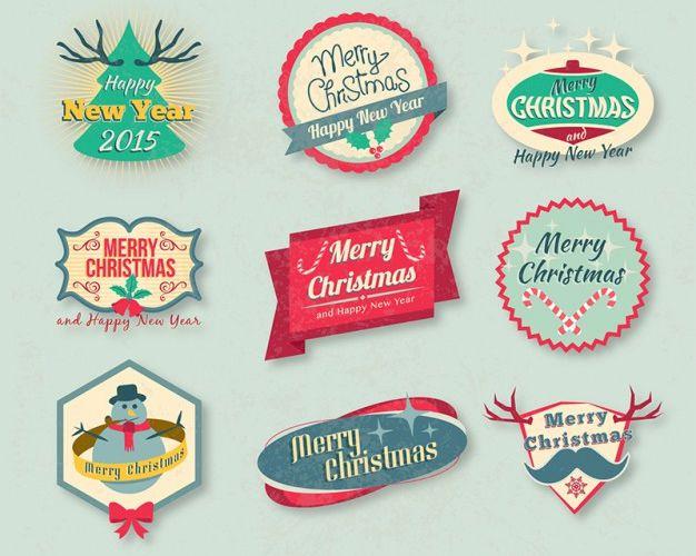 Vintage Vector insignias de Navidad pack vacaciones gratis