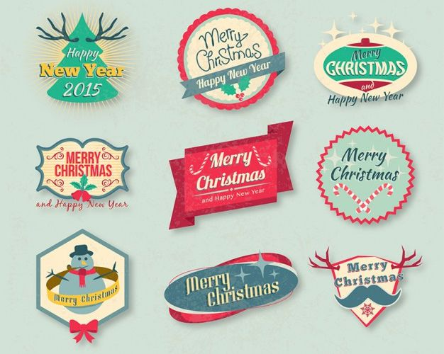 Vintage Vector Christmas Badges Pack free holidays