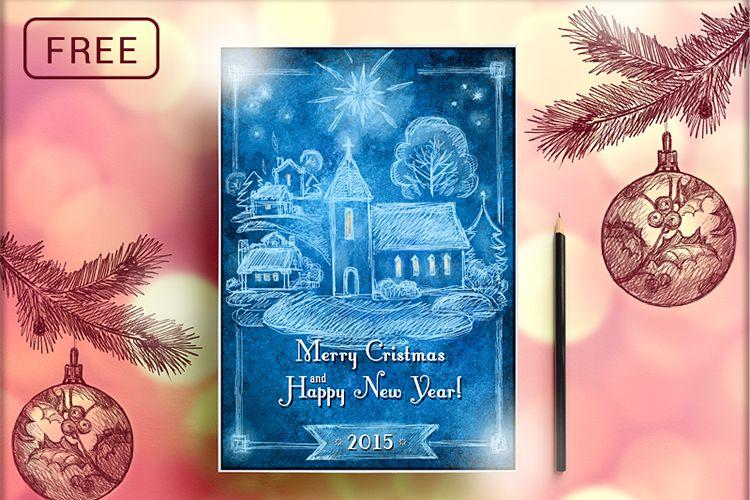Dibujado a mano Retro postal de Navidad vacaciones gratis