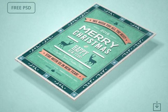 Vacaciones de Navidad retro gratis y año nuevo Flyer
