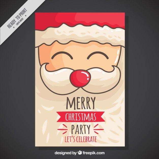 Invitación de la fiesta de Navidad con vacaciones de Santa Vector dibujado a mano
