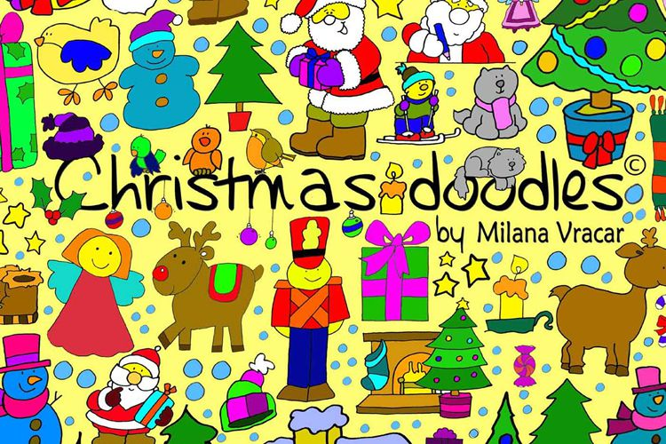 126 Christmas Doodles Brush Pack free holidays