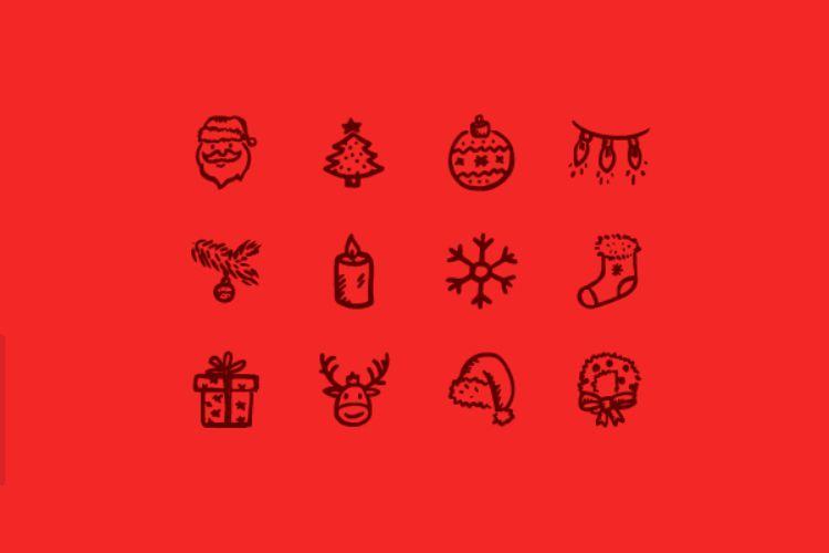 12 iconos estilo Feliz dibujados a mano vacaciones gratis