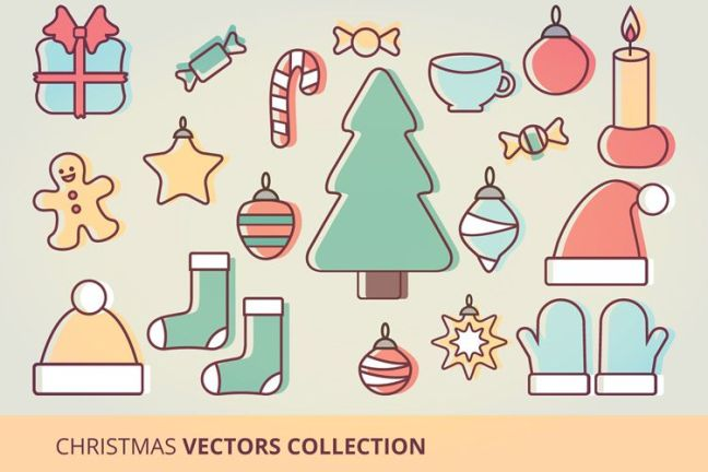 Christmas Icons Vector Set vacaciones gratis