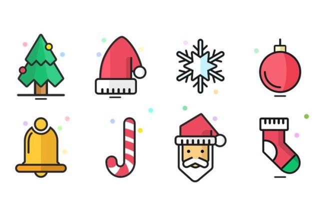 8 iconos de Navidad vacaciones gratis