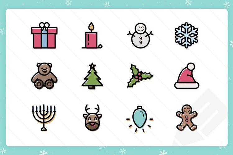 20 contorneados color fino Vector iconos de Navidad vacaciones gratis