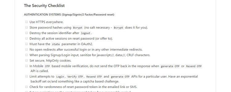 Security Guide Developers checklist preventing security issues