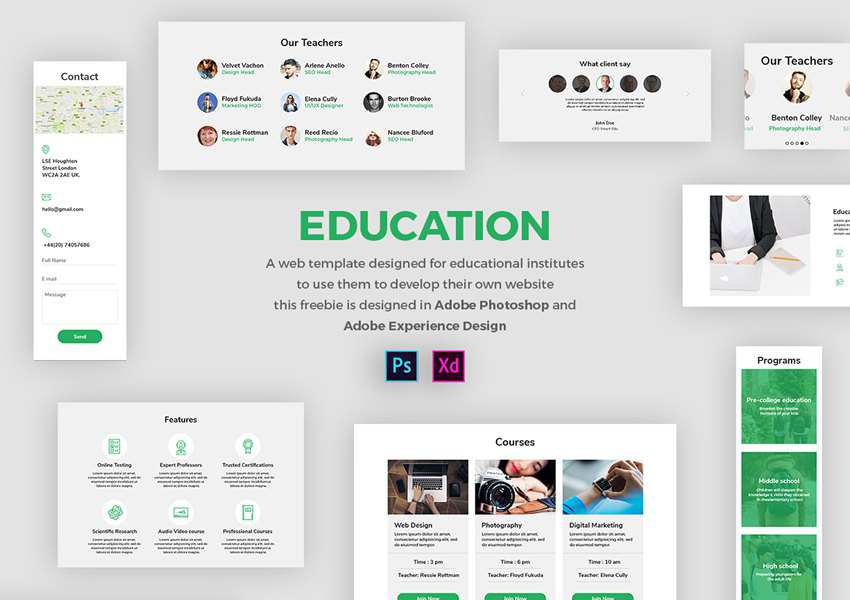 Education Web UI Kit for Adobe XD