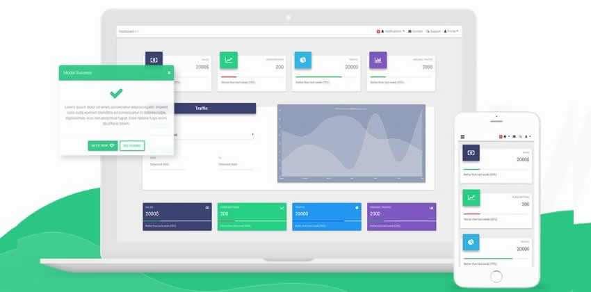 Vue Material Design Bootstrap 4 Kit Admin UI Ffree
