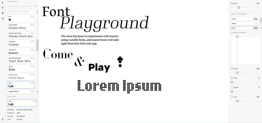 Font Playground testing tool
