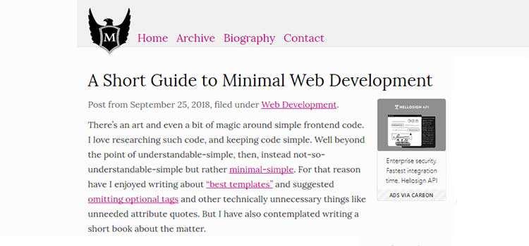 A Short Guide to Minimal Web Development