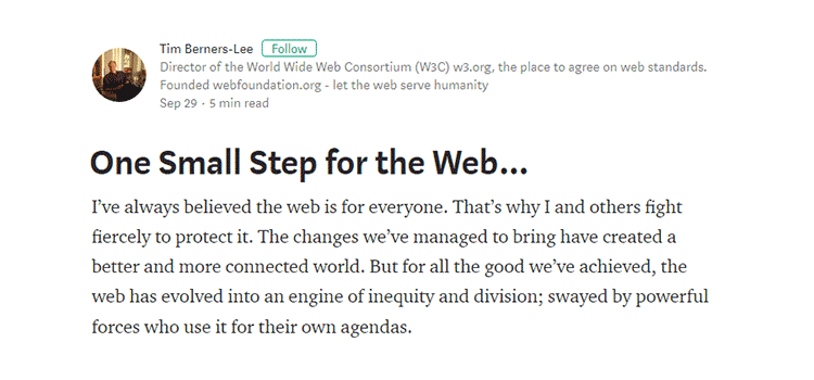 One Small Step for the Web…