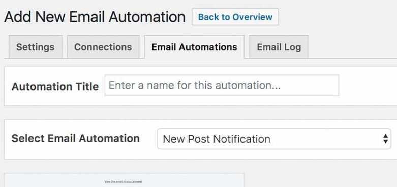 Automation setup within MailOptin.