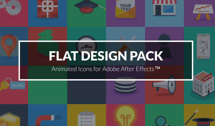 Animated Flat pack ae adobe after effects template motion design project files video movie icon animation type free