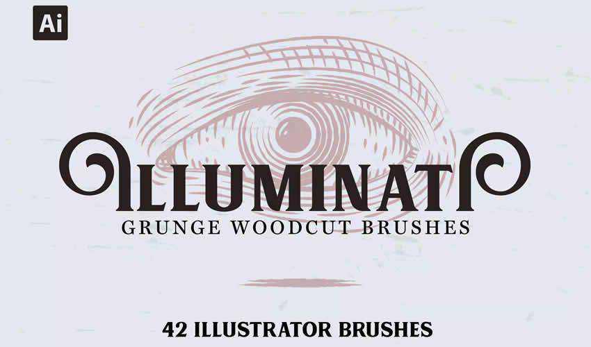 Illuminati Grunge Woodcut vintage antique adobe photoshop ps brush brushes abr pack set